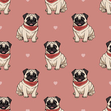 Seamless Pattern With Cute Sitting Pugs Wearing Red Scarf On Pink Background With Hearts. Vector Dog Illustration. Endless Texture With Cartoon Dogs For Your Design