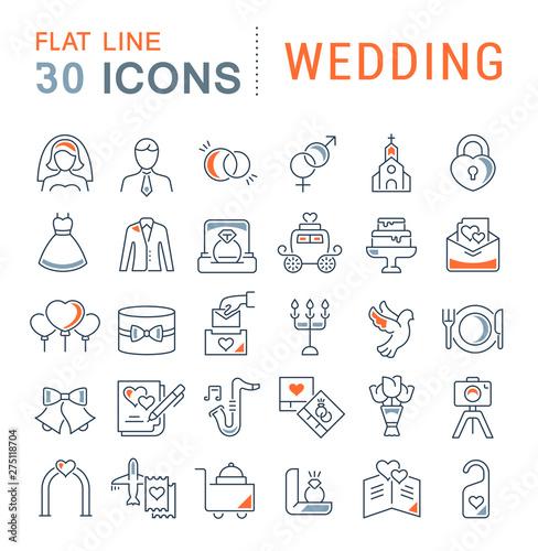 Fotografie, Obraz  Set Vector Line Icons of Wedding