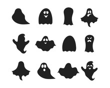 Set Of Halloween Ghost Silhouettes. Scary Haunted House Phantoms. Cute Cartoon Boos. October Night Party Decoration.