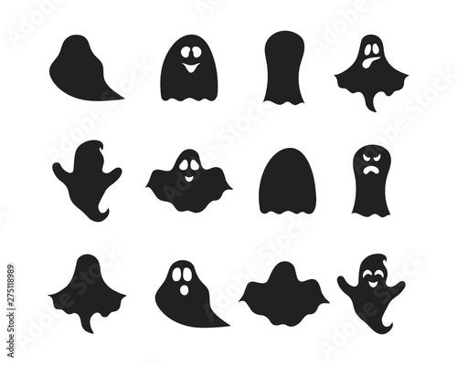 Obraz na plátne Set of Halloween ghost silhouettes