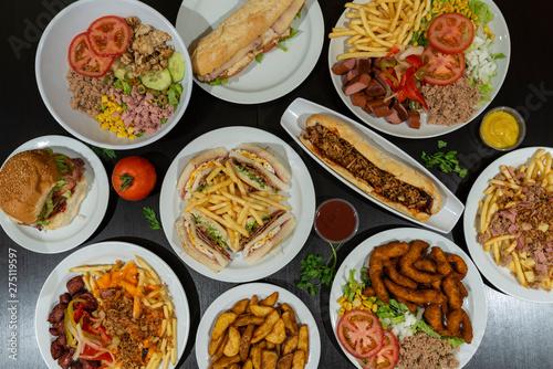 Fotografie, Obraz  Composición de platos combinados de comida rápida