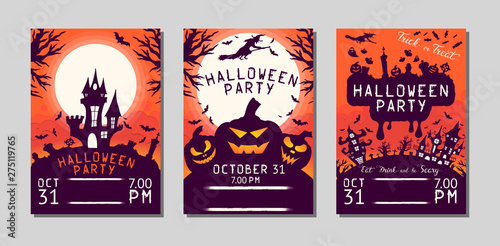 Spoed Fotobehang Halloween Halloween flyer with pumpkins, cemetery, haunted house, bats and witch under the moon for october 31 night. Vector isolated horror posters. Party invitation leaflet.
