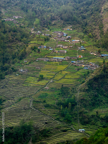 Nepal Village on Mountain Slope, Chhomrong, Annapurna Region, Terrace Rural Mountain Village