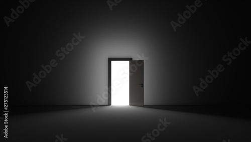 Fotografie, Tablou  An open door with bright light streaming into a very dark room