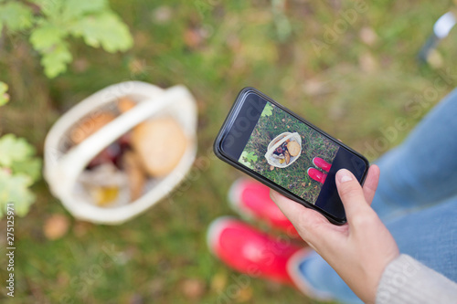 Obraz technology, nature and leisure concept - close up of woman photographing mushrooms in basket by smartphone in autumn forest - fototapety do salonu