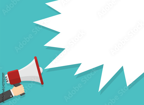 realistic red megaphone in hand with place for text in white dialog speech bubble vector illustration Wallpaper Mural