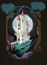 White Castle In Front Of Night Sky And Moon. Fairy Tale Illustration. Book Cover, Poster Or Postcard Design