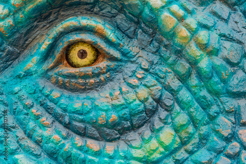 Close up to Colorful and patterns of  dinosaur model surfaces created with cemen Wallpaper Mural