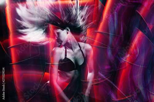 young woman dance double exposure - 275129534