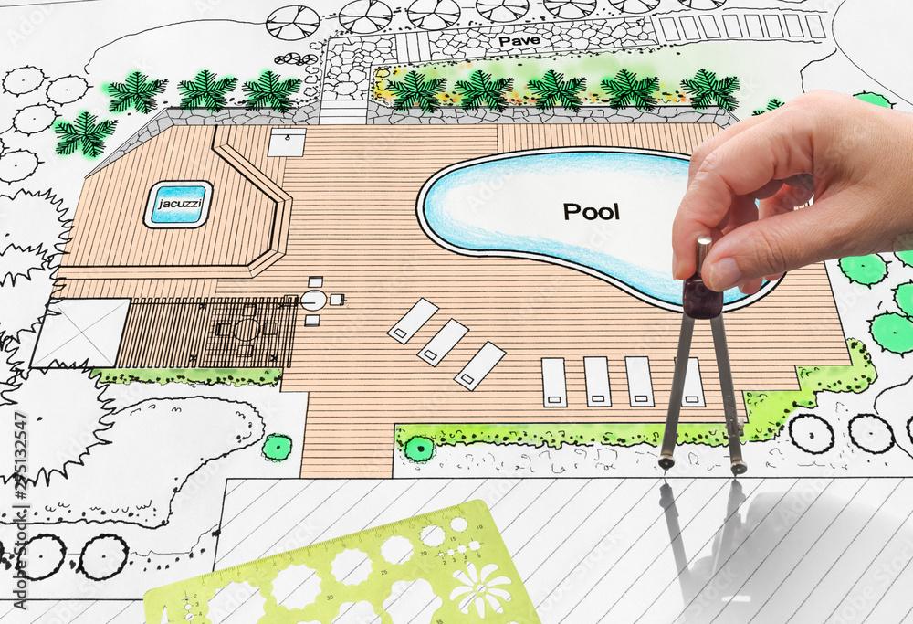 Fototapety, obrazy: Landscape architect design backyard pool plan for hotel