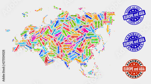 Vector handmade composition of Europe and Asia map and ...