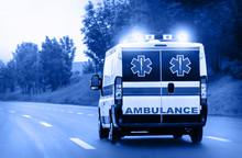 Ambulance Van On Highway With ...