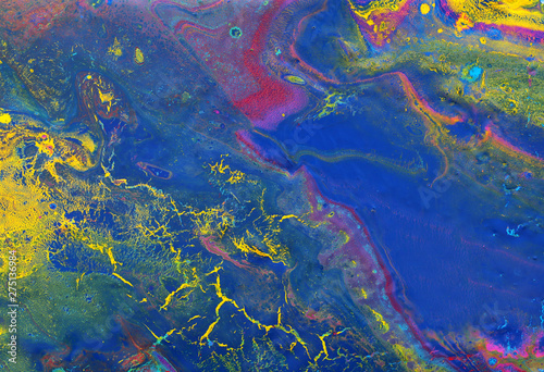 Fototapety, obrazy: photography of abstract marbleized effect background. yellow, blue, purple and red creative colors. Beautiful paint