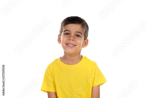 Fototapeta Happy dark child with yellow t-shirt obraz na płótnie