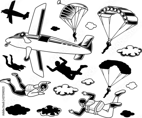 Set of parachuting elements Wallpaper Mural