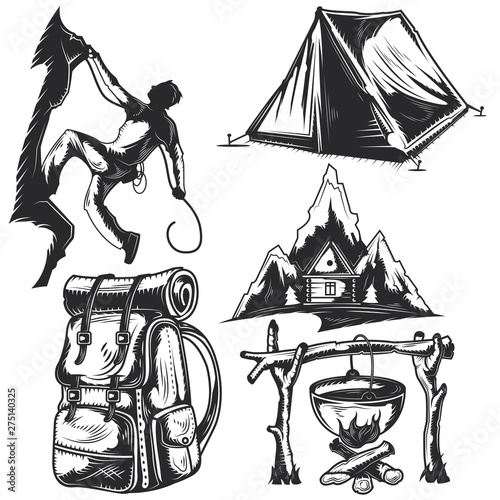 Obraz Set of camping elements - fototapety do salonu