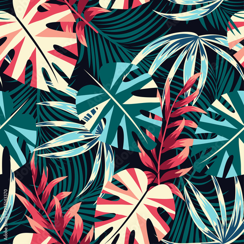 Photo sur Toile Empreintes Graphiques Abstract seamless tropical pattern with bright leaves and plants on a dark background. Vector design. Jungle print. Floral background. Printing and textiles. Exotic tropics. Summer design.