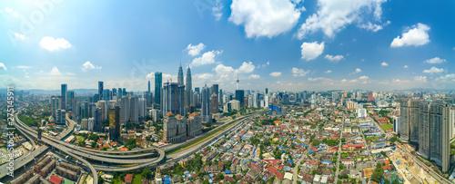 Canvas Prints Kuala Lumpur Modern Skyscraper and Traditional Housing Area at Kuala Lumpur, Malaysia