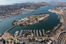 Aerial Of San Francisco Bay Waterways Near Alameda Island And Oakland California.