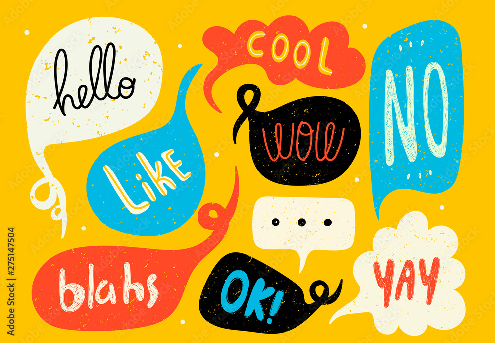 Fototapeta Various speech bubbles with words. Hand drawn set. Different shapes. Abstract contemporary modern trendy vector illustration. Stamp texture. All elements are isolated
