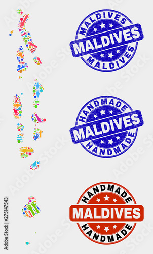 Vector handmade combination of Maldives map and rubber seals. Mosaic ...