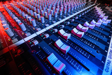 Detail Sound Mixer In Red And Blue Light With Great Perspective