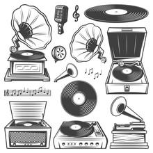 Retro Gramophone Icons Set