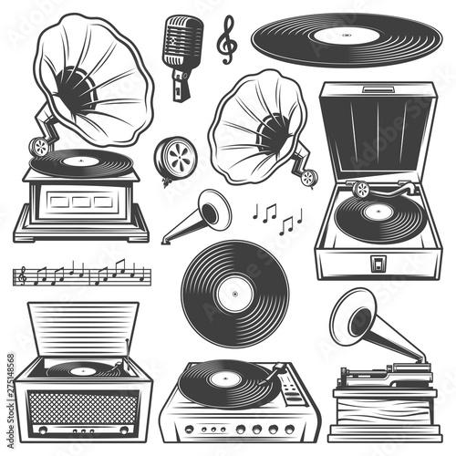 Fotomural Retro Gramophone Icons Set