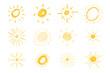 Hand drawn suns. Big set of simple sketch suns
