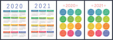 Calendar 2020, 2021 Years. Colorful Vector Set. Week Starts On Sunday. Vertical English Calender Design Template
