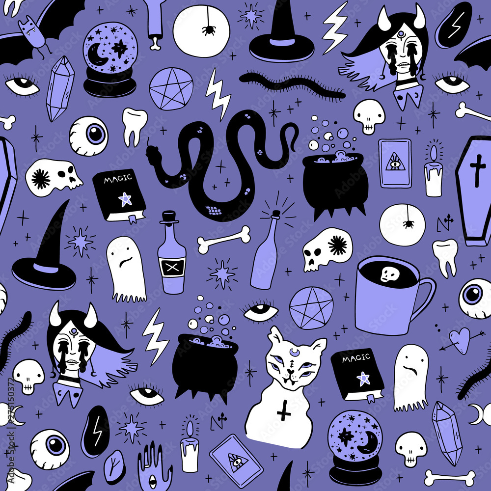 Fototapety, obrazy: Magic Halloween objects seamless. Hand drawn colored vector pattern