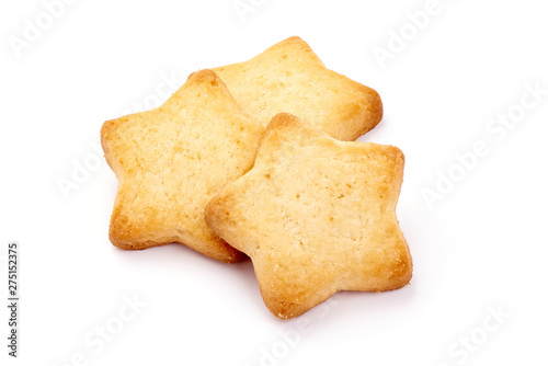 Papel de parede Homemade shortbread cookies, close-up, isolated on white background