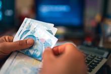 Woman Hands Counting Turkish Lira