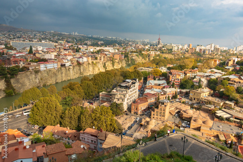 Foto op Aluminium Tbilisi, Georgia - November 5, 2018: Tbilisi, a view from the height of the river