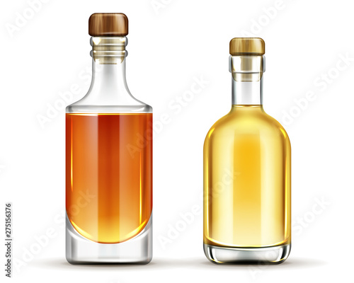 Papel de parede Bottles of tequila, whiskey, bourbon alcohol drinks mock up set , glass flasks with cork and liquid isolated on white background, design elements for advertising