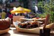 Leinwanddruck Bild - organic food on street food festival. special food sold on Open kitchen food festival event.