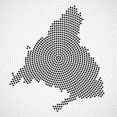 Abstract map Madrid of radial dots, halftone concept. Vector illustration, eps 10