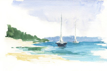 Seaside, Sailboats And Sky. Beach Landscape Wallpaper, Hand Painted Design, Watercolour Background.