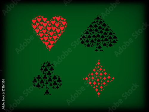 Photo Poker card suits filled inside on green background shadow