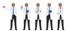 Male Doctor Set In Different Poses Isolated Vector Illustartion