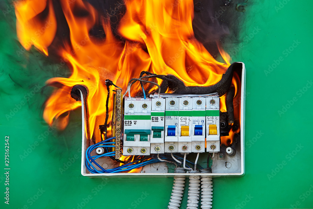 Fototapety, obrazy: Loose wires caused fire inside electrical fuse box