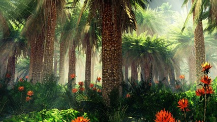 Panel Szklany Krajobraz Blooming jungle in the fog, flowers among palm trees, palm trees in the fog