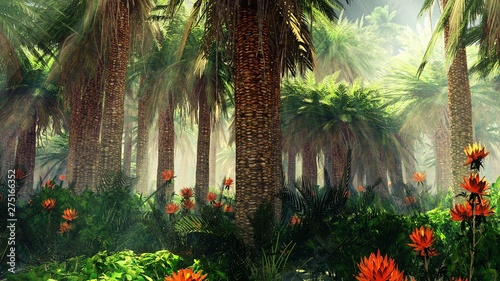 Obrazy dżungla   blooming-jungle-in-the-fog-flowers-among-palm-trees-palm-trees-in-the-fog