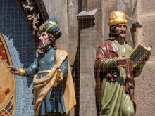 Astronomer And Chronicler Figures On The Astronomical Clock On The Old Town Hall In Old Town Square In Prague, Bohemia, Czech Republic - Famous Tourist Attraction