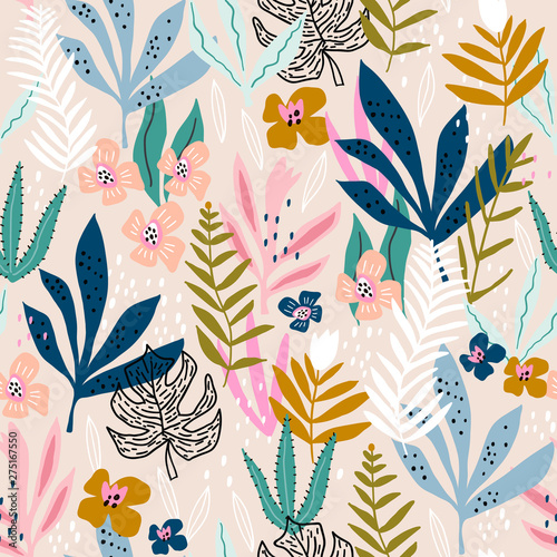 Vászonkép Seamless pattern with flowers, branches, leaves