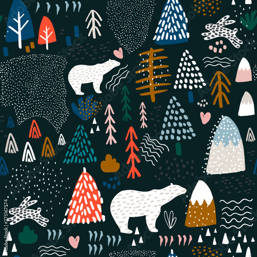 obraz lub plakat Seamless pattern with bunny,polar bear, forest elements and hand drawn shapes. Childish texture. Great for fabric, textile Vector Illustration