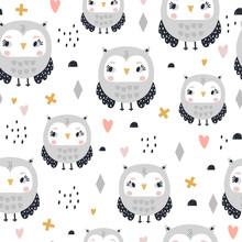 Seamless Pattern With Cute Gir...