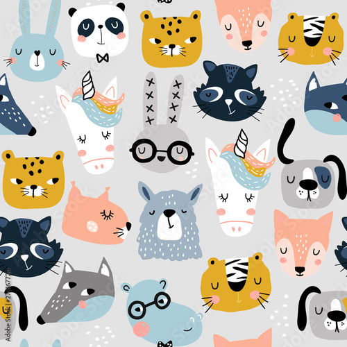 plakat Seamless childish pattern with funny animals faces . Creative scandinavian kids texture for fabric, wrapping, textile, wallpaper, apparel. Vector illustration