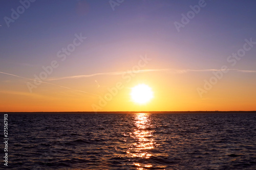 Beautiful landscape with sunset over sea. Background