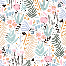Seamless Pattern With Flowers, Branch, Leaves. Creative Floral Texture. Great For Fabric, Textile Vector Illustration
